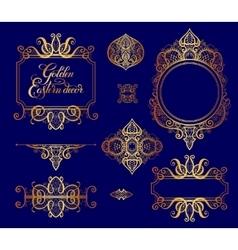Set of floral golden eastern decor frame elements vector