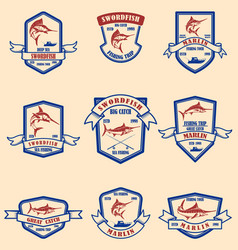 Set of marlin swordfish emblems design element vector