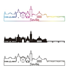 Seville V2 skyline linear style with rainbow vector