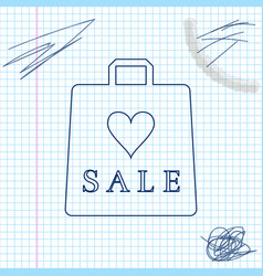 shoping bag with an inscription sale line sketch vector image