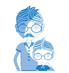 silhouette father with his son using glasses vector image