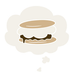 Smore cartoon and thought bubble in retro style vector