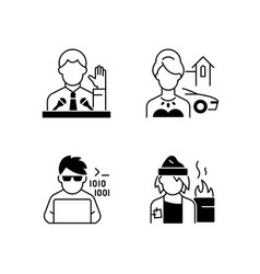 Social status type black linear icons set vector