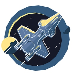 Spacecraft spaceship in space planet vector
