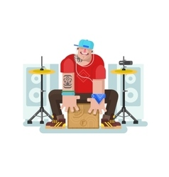 Stylish drummer play on cajon vector image