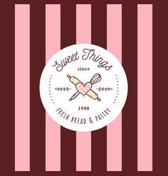 sweets shop retro style doodle sketch logo vector image