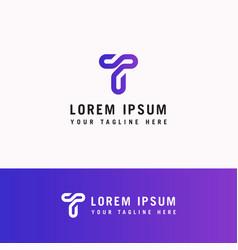 t letter logo line monogram modern initials vector image