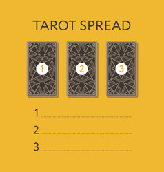 template for three tarot card spread vector image