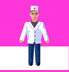 The flat of doctor on a pink vector
