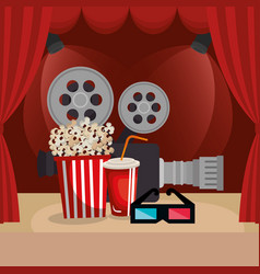 theater courtain with cinema icons vector image