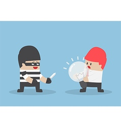 Thief robbing idea bulb from businessman vector