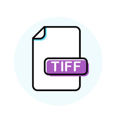 tiff file format extension color line icon vector image