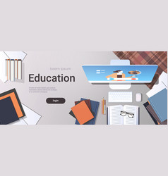 university student workplace e-learning online vector image