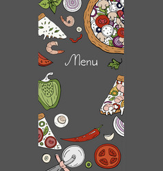 Vertical menu pizza banner colored on grey vector