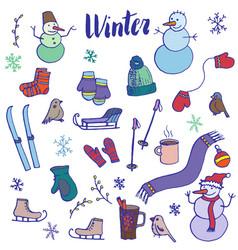 Winter doodle set vector