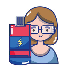 woman with usb vector image