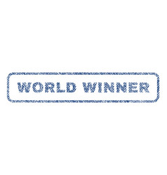 World winner textile stamp vector