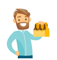 Young caucasian white man with pack of beer vector