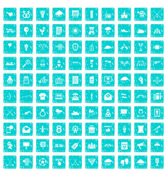100 arrow icons set grunge blue vector image vector image