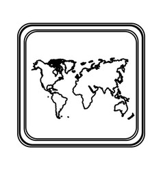 figure emblem earth planet map icon vector image
