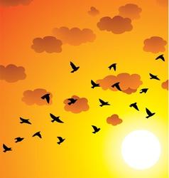 flock of flying birds vector image vector image