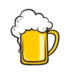 Frothy tankard of golden beer vector image