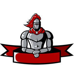 image of iron medieval knight holds ribbon vector image vector image