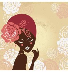 Retro beautiful woman silhouette vector image