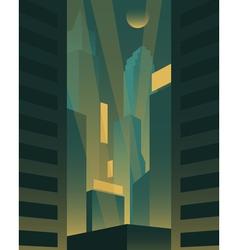 Big night city background vector image
