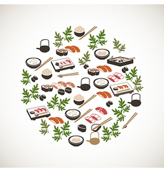 Colorful japanese food icons vector image vector image