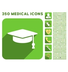 Graduation Cap Icon and Medical Longshadow Icon vector image vector image