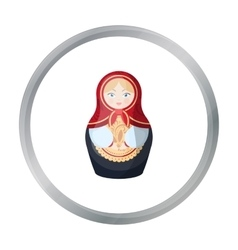Russian matrioshka icon in cartoon style isolated vector image