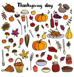 thanksgiving day doodle set vector image vector image