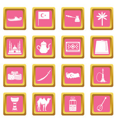 turkey travel icons pink vector image vector image
