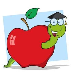 Graduate Worm In Apple vector image