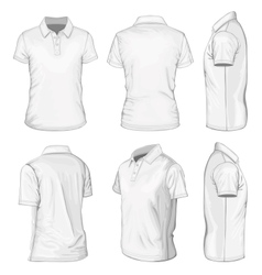 Mens white short sleeve polo-shirt vector image vector image