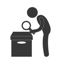 Person pictogram examining box with magnifying vector