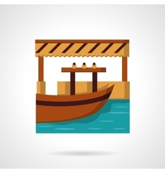 River dock flat color icon vector image