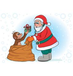 santa and monkey vector image