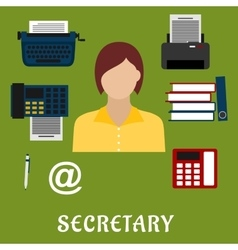 Secretary or assistant profession flat icons vector image