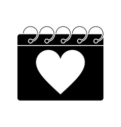 silhouette valentine day calendar love heart date vector image vector image