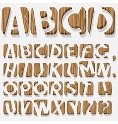 Wooden 3D alphabet vector image vector image
