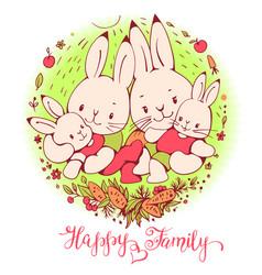 Cartoon bunnies family vector