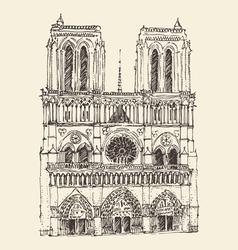 Cathedral of Notre Dame de Paris France vintage vector image