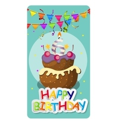 Happy Birthday Card Baner Background with Cake vector image vector image