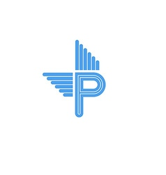 Letter P logo with blue wings flying concept vector image vector image