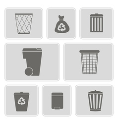 monochrome icons with symbols of trash vector image