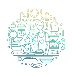 Mother and daughter at the kitchen - line vector image