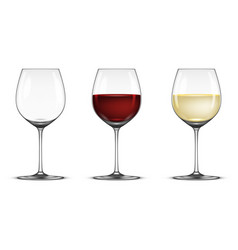 realistic wineglass icon set - empty with vector image