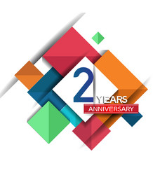 2 years anniversary design colorful square style vector